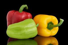 Red,Yellow and Green Bell Peppers Royalty Free Stock Photos