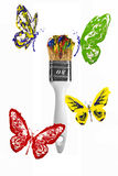 Red yellow green blue butterflies flying above paintbrush vector illustration