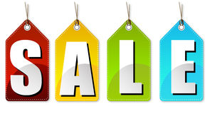 Red yellow green blue sale colourful tags Stock Photography
