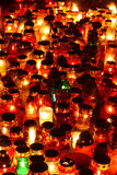 Red, yellow and green candles Stock Photography
