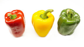 Red,Yellow and Green chili (Capsicum chinense) isolated on white background. Red chili.close up.background Stock Images