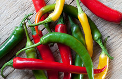Red, Yellow and Green Chili Pepper Stock Images