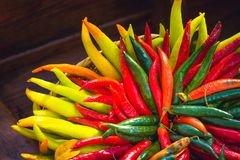 Red , yellow and green chilli peppers royalty free stock photo