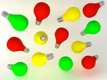 Red yellow green color light bulb Stock Image