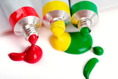 Red, yellow and green colors in tubes Royalty Free Stock Photo