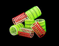 Red and yellow green curlers Royalty Free Stock Image