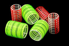 Red and yellow green curlers Stock Photography