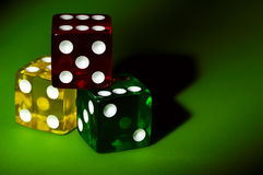 Red Yellow and Green Dice Stock Image