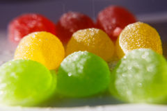 Red, yellow, green fruit jelly, fruit candy, jujube. Sweetness of candy, chewing sugar Stock Photos