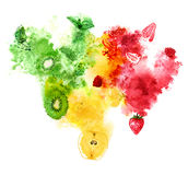 Red, yellow and green fruits and berries with juicy splash on white background. Hand-painted watercolor illustration.  Stock Images