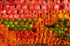 Red, yellow and green glowing lanterns Royalty Free Stock Image