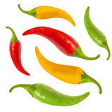 Red, yellow, green hot chili pepper, with clipping path Stock Image