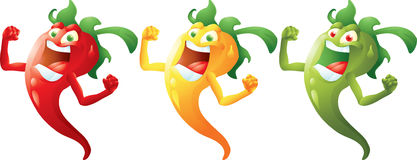 Red, yellow, green hot peppers cartoon Stock Photo