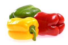 Red, yellow and green paprika Stock Images