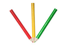 Red yellow green pencils Royalty Free Stock Photography