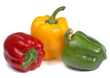 Red yellow and green pepper. On white background Stock Image