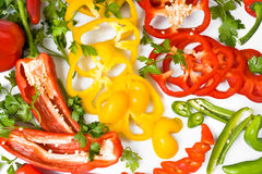 Red,yellow ,green peppers Stock Photo