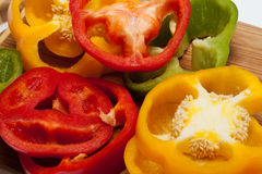 Red, yellow and green peppers Royalty Free Stock Photography