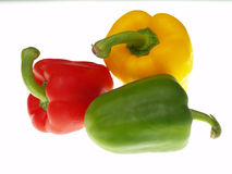 Red yellow and green peppers Royalty Free Stock Photos