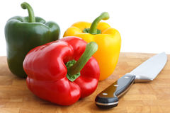 Red, yellow and green peppers Royalty Free Stock Image