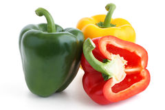 Red, yellow and green peppers Stock Image