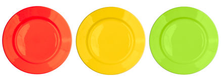 Red, yellow, green plates set isolated top view Stock Photography