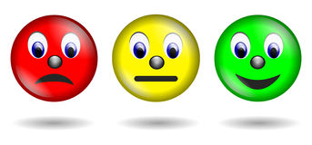 Red yellow green smiley isolated stock illustration