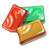 Red, yellow and green soap in cartoon style. On white background. Vector illustration stock illustration