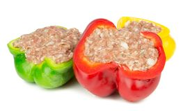 Red yellow and green stuffed paprika Stock Photography