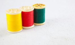 Red yellow green thread Stock Photo