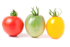 Red yellow and green tomatoes isolated on white background Stock Images