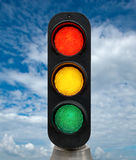 Red Yellow and Green traffic lights Stock Photo