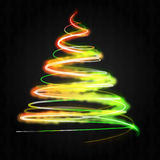 Red yellow green tree concept on black Royalty Free Stock Image