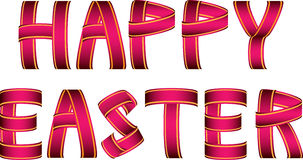 Red and yellow happy easter ribbon text. Red and yellow happy easter text made of ribbons Stock Photography