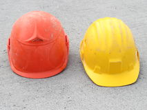 Red and yellow Hard hat Stock Photo
