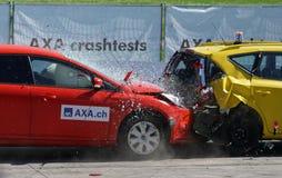 Red and Yellow Hatchback Axa Crash Tests Stock Photos