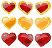 Red and yellow hearts. Set illustrations of a red and yellow hearts Royalty Free Stock Images