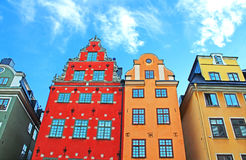 Red and Yellow iconic buildings on Stortorget, Stockholm, Sweden Stock Images