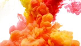 Red and Yellow ink moving in water on white background. Acrylic ink swirling in water. Abstract clouds of paint. Traces of ink dissolving in water, ever stock footage
