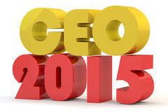 Red and yellow  inscription of CEO. For 2015 Royalty Free Stock Image