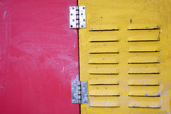 Red and yellow iron door Royalty Free Stock Image