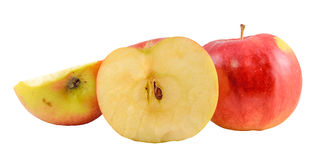 Red-yellow Jonathan apples, isolated Royalty Free Stock Photography