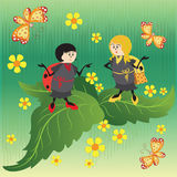 Red and yellow ladybugs. Drawing for kids. Nature. The cartoon characters. Design for banner, poster, children`s goods, textiles, emblems, books, and Stock Photo