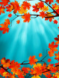 Red and yellow leaves against a blue sky. EPS 8 Royalty Free Stock Photo