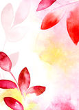 Red and yellow leaves floral background Stock Photo