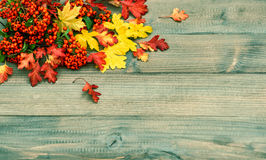 Red and yellow leaves on wooden texture. Autumn background. Red and yellow leaves on rustic wooden texture. Autumn background. Vintage toned picture Stock Photography