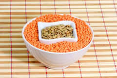 Red and yellow lentils. In a white bowl stock photo