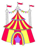 Red and yellow line art drawing of circus tent Royalty Free Stock Photo