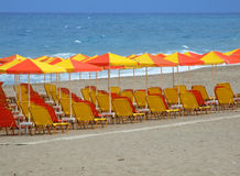 Red and Yellow Loungers and Umbrellas on Sandy Beach Royalty Free Stock Image