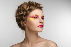 Red yellow Makeup Beauty Girl Royalty Free Stock Photography